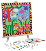 Alex Jungle Deluxe Painting and Wooden Easel Set - 41cm X 41cm Canvas and Acrylic Paints