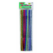 Charles Leonard Inc, Chenille Stems - Sparkle 6mm - Assorted Colours - 100/Bag