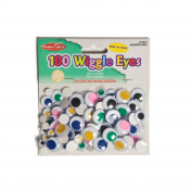 Charles Leonard Inc., Wiggle Eyes, Peel'n Stick, Assorted Colours & Sizes, 100/Bag