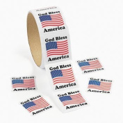 100 American Flag Roll Stickers, 1 Roll
