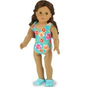 Doll Bathing Suit fits American Girls Dolls, Aqua 46cm Doll Swim Suit in Stretchy Fabric
