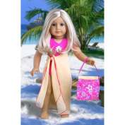 Beach Party - 3 piece outfit includes pink swimsuit, yellow wrap and beach bag; fits 46cm American Girl doll