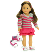 Doll Clothes 46cm Size Fits American Girl Dolls 3 Pc. Set, Pink & Grey Striped Shirt, Pink Skirt & Doll Sneakers