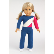 Olympic Gymnast - 3 piece outfit includes gymnastic leotard, warmup pants and white booties. Fits 46cm American Girl dolls.