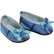Fits American Girl Dolls - Blue Plaid Ballerina Flats, 46cm Doll Shoes in Blue Piaid