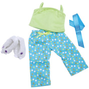 Springfield Collection Pyjama Outfit, Green Top, Dot Pants, Slippers and Ribbon