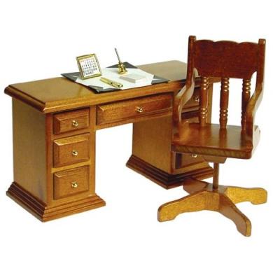Dollhouse Miniature 2-Pc. Traditional Desk & Chair Set