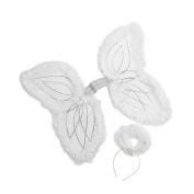 White Marabou Angel Wings & Halo Headband