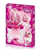 Kids Authority Deluxe Beauty Vanity Set With Stand and Working Hair Dryer - Pink Fairytale Vanity Mirror Set