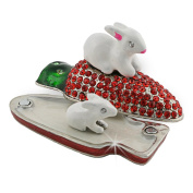 "Objet D'Art Release #65 ""Nibbles"" Easter Bunny and Baby on Carrot Handmade Jeweled Enameled Metal Trinket Box"