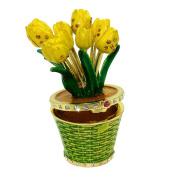 "Objet D'Art Release #342 ""Tiptoe Through The Tulips"" Potted Flowers Handmade Jeweled Enameled Metal Trinket Box"