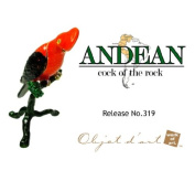 """Objet D'Art Release #319 """"Andean Cock Of The Rock"""" Critically Endangered Species Handmade Jeweled Enameled Metal Trinket Box"""