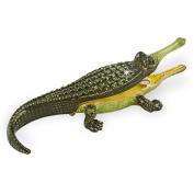 "Objet D'Art Release #228 ""The Gharial"" Critically Endangered Species Crocodile Handmade Jeweled Metal & Enamel Trinket Box"