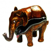 "Objet D'Art Release #323 ""The Asian Elephant"" Critically Endangered Species Handmade Jeweled Enameled Metal Trinket Box"