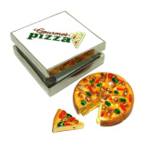 "Objet D'Art Release #326 ""The American Pie"" Pizza Box and Pizza Slice Handmade Jeweled Metal & Enamel Trinket Box"