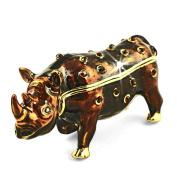 "Objet D'Art Release #176 ""The Black Rhino"" Critically Endangered Species Handmade Jeweled Metal & Enamel Trinket Box"