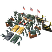 150pc Army Men Toy Soldiers Play Set Missiles Jets Tanks B2 Bomber