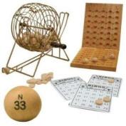 Da Vinci Deluxe 17.8cm Diameter Metal Frame Cage Bingo Set with Wood Balls & Wood Board