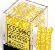 Yellow with White Spots Translucent 12mm 6 Sided Dice 36