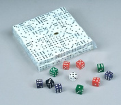 Block of 200 D6 16mm Dice - White with Black Pips