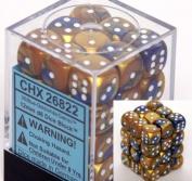Chessex Gemini 12mm d6 Blue-Gold w/White Dice Block 36 Dice