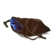 9.5cm X 10cm Black Velvet Dice Bag with Blue Satin Lining