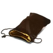 13cm X20cm Black Velvet Dice Bag with Gold Satin Lining