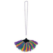 Beistle Company 192793 Mardi Gras Bead Necklace with Feather Fan