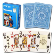 Modiano 100% Plastic Playing Cards Light Blue Cristallo 4 PIP JUMBO INDEX
