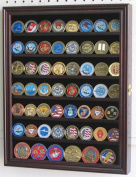 56 Military Challenge Coin Display Case Cabinet Rack Holder, with door - Mahogany Finish