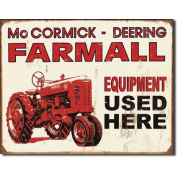 Farmall Tractor Equipment Used Here Distressed Retro Vintage Tin Sign