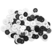 Blumenthal Lansing Favourite Findings Basic Buttons Assorted Sizes, 130/Pkg, Black and White