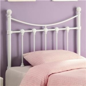 Twin Size Kid Metal Headboard with Shell Accents in White Finish