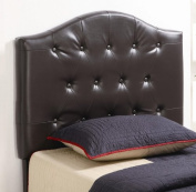 Twin Size Kid Headboard with Button Tufted in Dark Brown Faux Leather