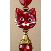 Blushing Red Cat Lampwork Glass Ceiling Fan Pull / Light Pull