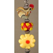 Chicken and Yellow Daisy Lampwork Glass Ceiling Fan Pull / Light Pull