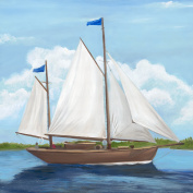 Oopsy daisy Set Sail Stretched Canvas Art by Justine Bassett and Jill Bachman, 70cm by 70cm