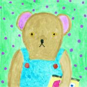 Oopsy daisy Studious Bear Stretched Canvas Wall Art by Mari Takabayashi, 18cm by 18cm