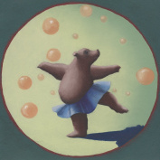 Oopsy daisy Dancing Bear Canvas Stretched Art by Margot Curran, 27cm by 27cm
