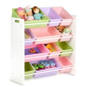Kids Toy Organiser w/ 12 Pastel Coloured Storage Bins - Honey Can Do #SRT-01603