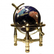 Unique Art 15cm by Blue Lapis Ocean Mini Table Top Gemstone World Globe with Gold Tripod