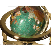 Unique Art 25cm Tall Table Top Green Crystallite Ocean Gemstone World Globe with Gold Four Leg Stand