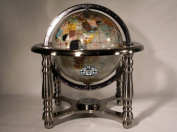 25cm Tall Mother of Pearl Ocean MOP Table Top Gemstone Globe with 4-leg Silver Stand