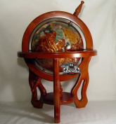 46cm Tall Amber Pearl 3 Leg Real Wood Stand Gem Gemstone World Map Globe Globes Maps