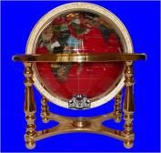 36cm Red Jasper GEMSTONE GLOBE with Gold Stand