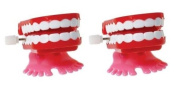 2-Chattering Chomping Wind Up TOY Walking Teeth