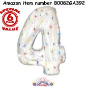 Number Four Shape 120cm Multi-Coloured Sparkles Mylar Balloon Pkg/1