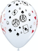 casino print balloons - poker dice and cards - james bond - event - 25cm x 28cm helium quality latex balloons
