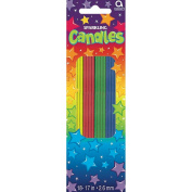 Sparkling Thin Party Candles 18cm 12/Pkg-Assorted Colours