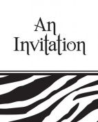 Creative Converting Animal Print Party Invitations, Zebra, 8 Count